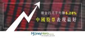 強積金四月平均賺5.28% 中國股票表現最好