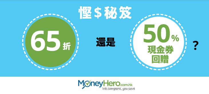 慳錢秘笈:要65折優惠好,還是50%現金券回贈好?