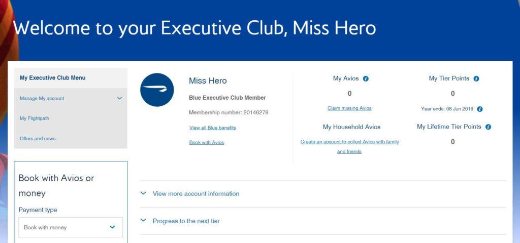 英國航空Executive Club戶口