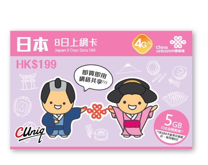 中國聯通-日本上網卡-8日上網卡