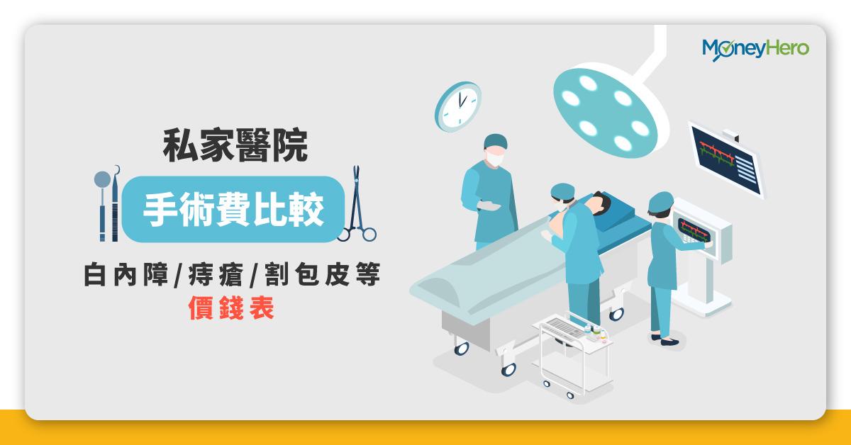 私家醫院 手術費比較 白內障 痔瘡 割包皮等 價錢表 2020