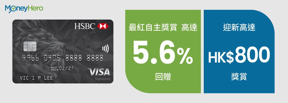 現金回贈信用卡 滙豐Visa Signature